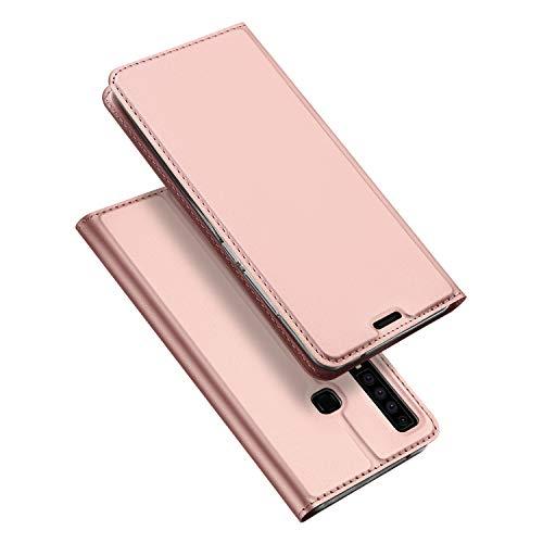 DUX DUCIS Hülle für Samsung Galaxy A9 2018, Leder Flip Handyhülle Schutzhülle Tasche Case mit [Kartenfach] [Standfunktion] [Magnetverschluss] für Samsung Galaxy A9 2018 (Rose Golden)