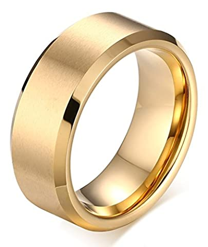 Beydodo Mens Tungsten Carbide Rings Brushed Comfort Fit Gold Plating Wedding Bands 8mm Size X 1/2