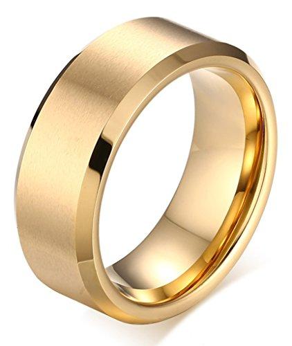 Beydodo Herren Wolframcarbid Ringe Gebürstet Bequemlichkeit Passen Vergoldet Trauringe 8mm Größe 62 (19.7)