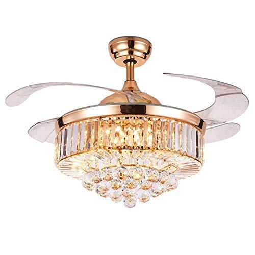 LAZ Ventilador de techo invisible de cristal LED con luz, lámpara de araña de oro rosa de 42 pulgadas, con control remoto, lámpara de techo de acrílico adecuada for la sala de estar Dormitorio Habitac