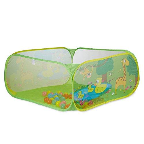 Relaxdays 10022475  piscina palline per neonato da 6 mesi ball pool quadrata 50 palline bpa free vasca pop up hxl 50x110 cm colorata