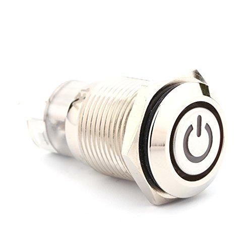 Qiilu 1 pièce 16mm 1NO 1NC Connexion 12V Métal LED Interrupteur à Bascule Bouton Poussoir de Verrouillage