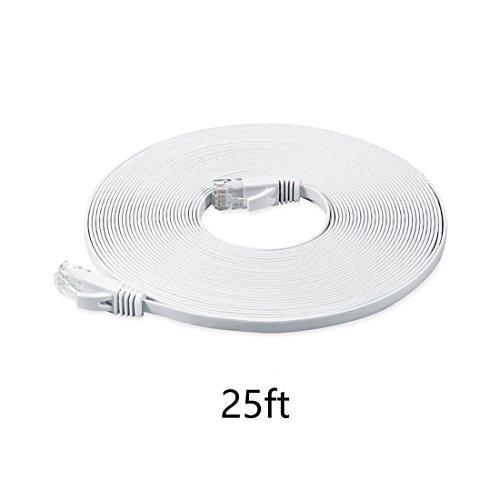 8.0m (meter) Cat.6 flaches Ethernet Gigabit Lan Netzwerkkabel (nach oben / unten kompatibel) / Breitbandkabel | Patchkabel / Flachkabel | 2 RJ-46 Stecker | Stecker mit Biegeschutzmantel | Farbe: Weiß Mediabridge 6 Füße