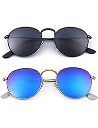 Younky UV Protected Combo Of 2 Wayfarer Unisex Sunglasses - (Ynss_Bb-Bm|55|Blue)