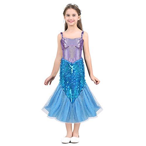 YiZYiF Mädchen Pailletten Kleine Meerjungfrau Kostüm Ärmellos Festlich Prinzessin Kleid Meerjungfraukostüm Märchen Kleider Fasching Party Kleid Lavendel&Himmel Blau 110-116