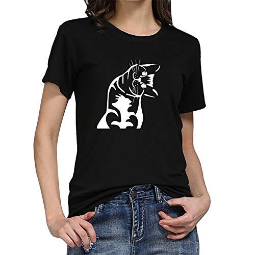 Mode Damen Shirt, lose Tunika Kurzarm Katze Drucken T-Shirt lässig Oansatz Wild Tops Tägliche Party Dating Wear Basis Shirt (Hahn Anzug)