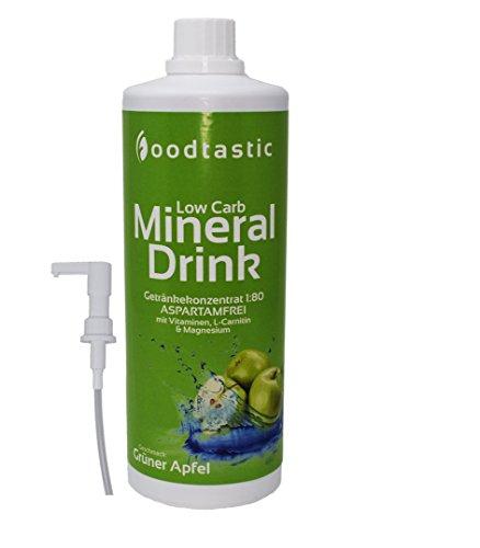 Foodtastic Low Carb Mineral Drink Grüner Apfel, 1000ml Flasche mit Dosierpumpe, zuckerarm Vital Getränke Sirup Konzentrat 1:80 zum Mischen in Wasser, perfektes Bundle