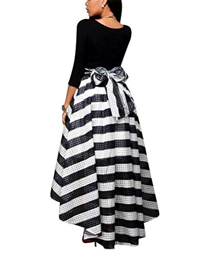 Brinny Fashion élégante Femme Suit Noir manches longues Mince Tops + irrégulier Rayures Jupes Haut Taille A-line Robe 4 tailles: S-4XL Noir