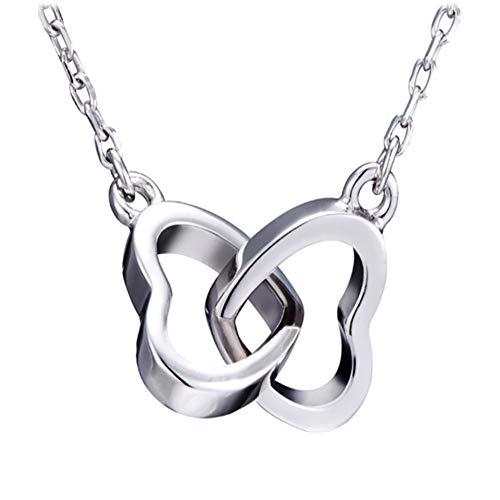 Lilloubella Damen Halskette Herz ineinander verschlungener Schmuck aus Sterling-Silber 925 romantisches Geschenk Geschenkidee Weihnachten