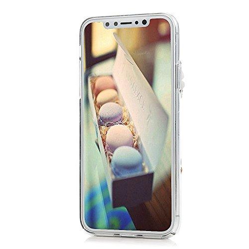 Lanveni Handyhülle für iPhone X Hülle Etui Protective Case Cover PC Hardcase Plastik Schutzhülle Handytasche mit Bunte Muster Cover Design (1x PC Hülle +1 x Kondensatorstift + 1 x HD Schutzfolie) Blaue Krone
