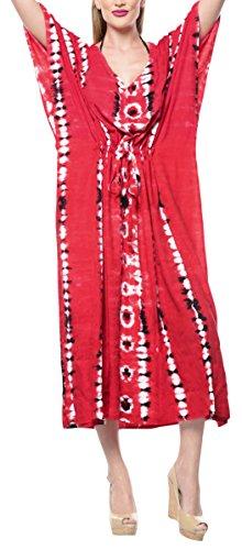 LA LEELA Damen Rayon überdimensional Maxi Tie Dye Kimono Kaftan Tunika Kaftan Damen Top Freie Größe Loungewear Urlaub Nachtwäsche Strand jeden Tag Kleider Rot_F688