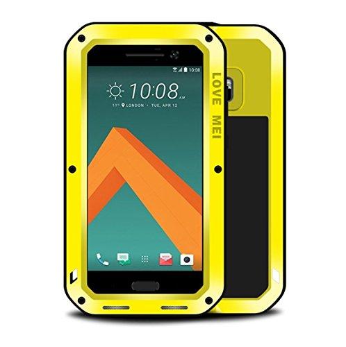HTC 10Fall, mangix Love MEI Gorilla Glas Innen Luxus Aluminium Schutzhülle aus Metall Silica Gel Military Bumper Heavy Duty Cover Shell Case für HTC 10(2016Release), Gelb Silica Gel Case