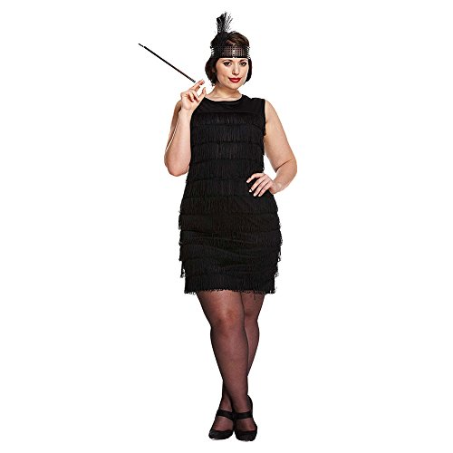 HENBRANDT Costume Fancy Dress Flapper Girl Plus Size (Nero)