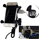 DELHITRADERSS Motorcycle Bike Mobile USB charger With mobile Holder For Cell Phone GPS mobile