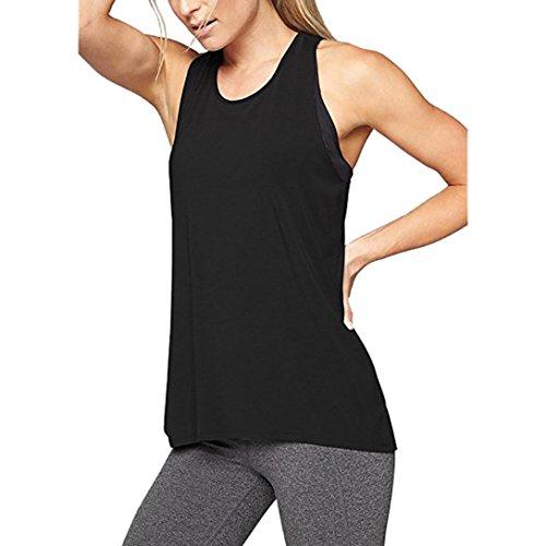 Damen Sommer Bluse Casual Tops Spitze,Jaminy Frauen Cross Back Yoga Hemd Ärmellos Racerback Workout Active Tank Top (Schwarz, XL) (Cross Back Bikini-top)