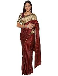 Designer Ethnic Silk & Georgette Embellished Sarees With Unstitched Blouse Design
