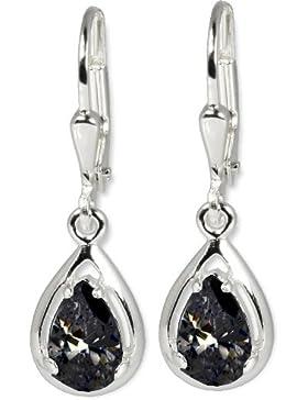 SilberDream Damen-Ohrhänger Träne schwarz 925 Sterling Silber SDO520S
