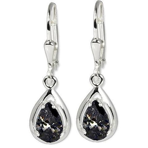 SilberDream Damen-Ohrhänger Träne schwarz 925 Sterling Silber