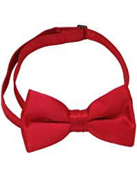 New Plain Satin 2 Layer Men's Pre-Tied Hot Red Bow Tie Adjustable