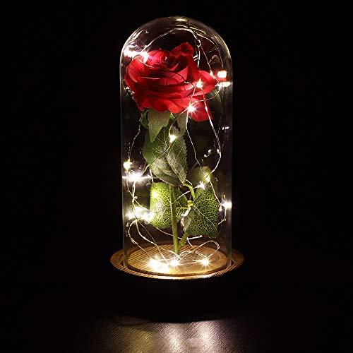 anaoo Rose und LED-Licht, ewige Rose in Seide, Rose künstliche Blume in eine Glaskuppel auf einer Holzsockel, Romantisches Geschenk für Valentinstag, Geburtstag,
