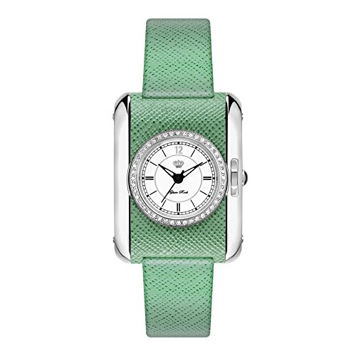 Glam Rock Women's Icons Green Leather Band Steel Case Swiss Quartz White Dial Analog Watch GR80001BD
