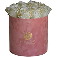REAL Everlasting Preserved Roses - will last min. 1 year - Hand-arranged in a Gift hat Box, Wedding Gift, Engagement Gift, Birthday Gift, Baby Shower - 10 colours - unique present
