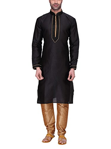 RG Designers Men's Full Sleeve Kurta Pyjama Set D6576Black