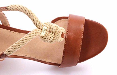 Sandalo con tacco Michael Kors Holly in pelle color marrone cuoio e corda Marrone