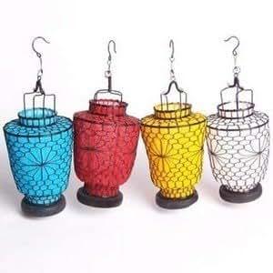 LOT DE 4 LANTERNE BOUGEOIR POUR BOUGIE LAMPE PHOTOPHORE CHINOISE