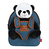 Cute Plush Animal Backpack for Kids with Fluffy Stuffed Toy - Toddler Children Soft Daypack for School - Baby Boy Girl Cuddly Animal Handbag for Infant - Perletti