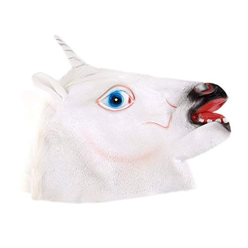 libingzeD Lustige kreative Halloween weiße Einhorn Pferdekopf Maske -