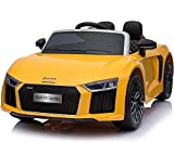 GetBest Official Licensed Audi R8 12V Battery Operated Ride on Car, Yellow