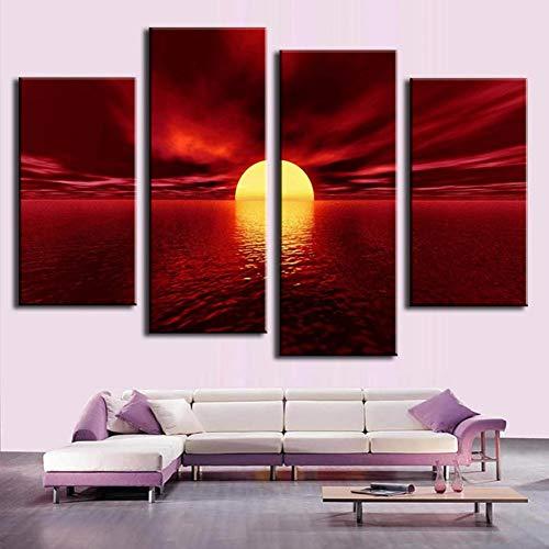 WOKCL Leinwanddruck 4 Teile/Satz Moderne Wandmalerei Sonnenuntergang Kombinierte Gemälde Rotes Meer Ungerahmt Leinwand Malerei Wandkunst Top Home Decoration -