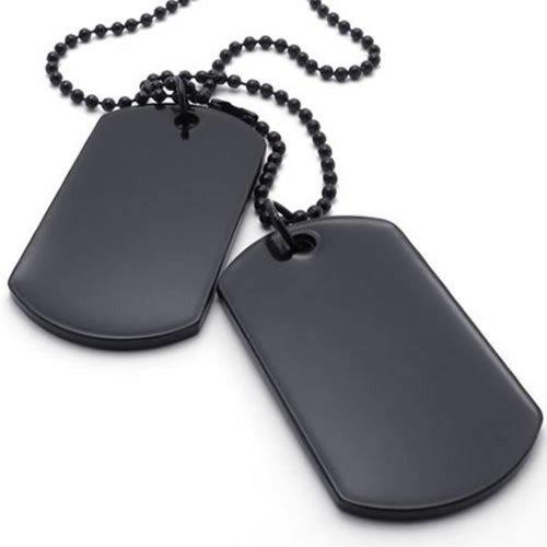 KONOV Bijoux Pendentif Collier Homme - Chaîne 68 cm - Plaque militaire Nom Prénom - Dog Tag - Style Militaire Armée - pour Homme - Couleur Noir - Avec Sac Cadeau - F20743