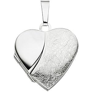 JOBO Medaillon Herz 925 Sterling Silber teileismatt