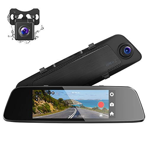 Crosstour Mirror Dash Cam, 7'' Full 1080P IPS Touch Screen 290° Wide Angle Dual Lens Front and Rear Recorder Waterproof Rear View Car Camera with G-Sensor, Parking Monitor, Loop Recording