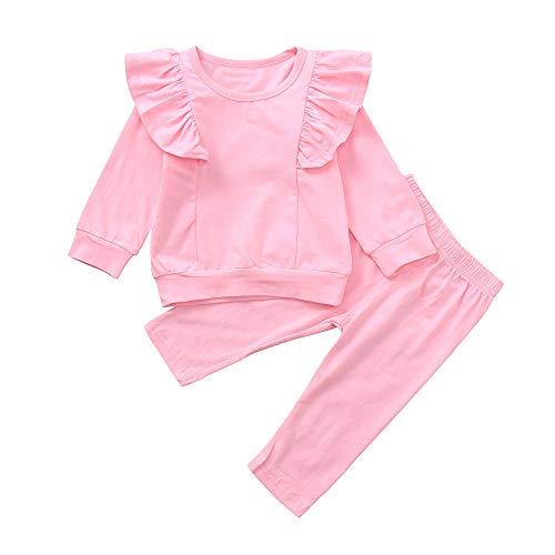 Rosennie Neugeborenes Baby Mädchen Warm Hoodie T-Shirt Marienkäfer Print Long Sleeves Top + Hose Outfits Set Kleinkind Kind Baby Overalls Jumpsuit Füße Karikatur Oberseiten Hosen (Rosa A,70)