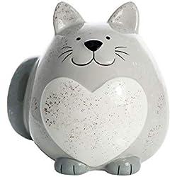SPOTTED DOG GIFT COMPANY Hucha Gato Gordo, huchas Originales de cerámica Gris con corazón Blanco para niños o Adultos, Regalo con Gatos niña y niño