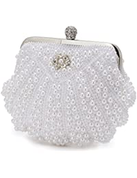 Evening Bag White Pearl Shell Bridal Handbags Rhinestones Metal Evening Clutch Purse Party Chain Bag By Xindi