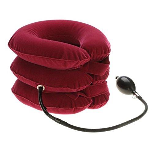 Scopri offerta per Glield Cuscino ad Aria per Collo Gonfiabile Trazione Vertebra Cervicale Casa a 3 Strati QYQ01 (Rosa Rossa)