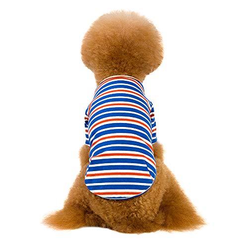 MCYs Gestreifte Baumwollhundekleidung streckt Zwei beinige Hundekleidung Haustier Kleidung grundiert