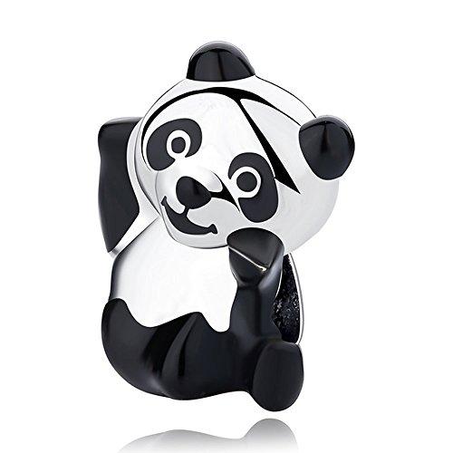 Ciondolo a forma di panda in argento sterling, dolce panda per bracciale originale pandora, smaltato