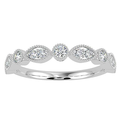 100% Natural Certified 1/3Ct Round & Marquise Shaped Diamond Half Eternity Ring - Miligrain on Edges in White Gold Hallmarked Size L