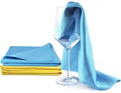 YouniClean 4 Stück 40 x 40 cm Profi Glaspoliertücher Microfaser/blau-gelb