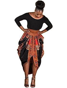 Culater Verano de las mujeres ocasional tradicional de impresión africana falda de la playa