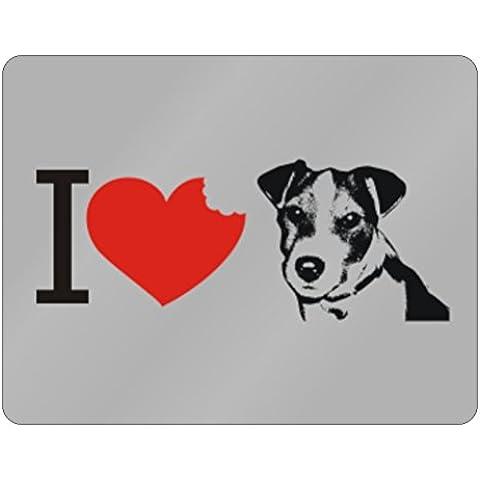 Teeburon I love Jack Russell Terrier SIlhouette Horizontal Sign