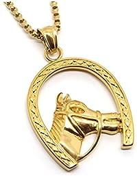 BOBIJOO Jewelry - Pendentif Fer à Cheval Tête Camargue Gitan Voyageur Doré  Acier Or + Chaîne d1c8df576a7