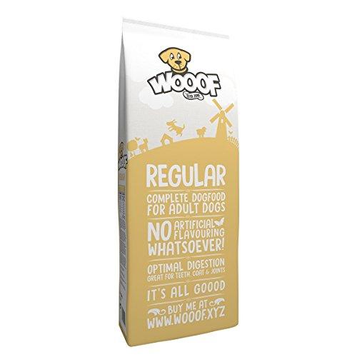 WOOOF Regular 15kg kaltgepresstes Hundefutter mit Rind, natürliche Zutaten, hoher Fleischanteil, leicht verdaulich, ohne Weizengluten, Trockenfutter
