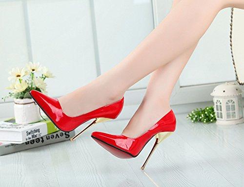 HeiSiMei Frauen high-heeled Schuhe / PU / Stilett-Ferse-Fersen / Büro u. Karriere / Partei u. Abend / Hochzeit / Kleid / Superhoher Absatz / Männer / Unisex RED-49