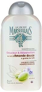 Le Petit Marseillais - Shampooing Cheveux Longs Lin - Amande Douce - Flacon 250 ml - Lot de 3